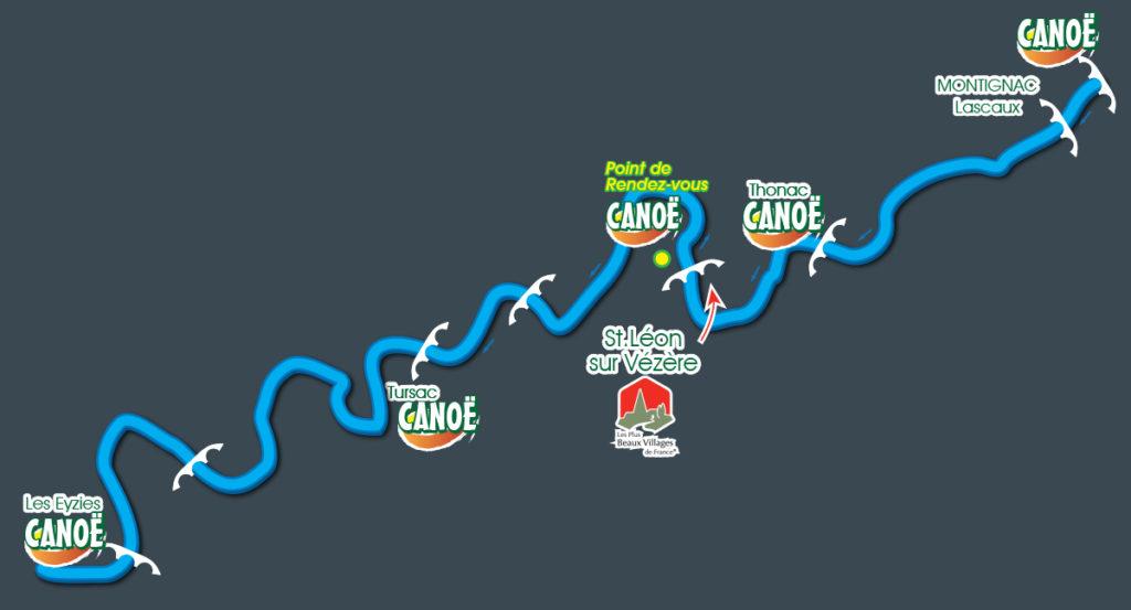Carte des descentes en canoe-kayak sur la Vézère - APA